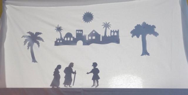das Schattenspiel - Leinwand mit Bildern zur Weihnachtsgeschichte